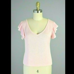 St. John Marie Gray Pink Santana Knit Sweater Top